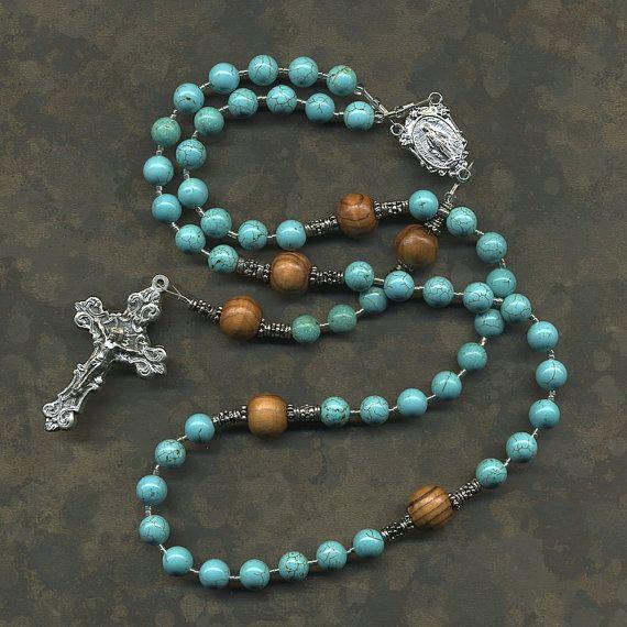 Turquoise Magnesite and Olive Wood Catholic Rosary
