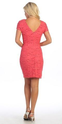 31cf649bccc Celavie 6038 Short Sleeved Short Side Gathered Coral Dress Back View ...