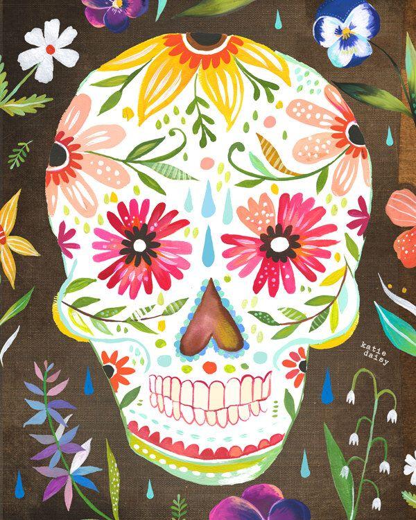 Sugar Skull Art Print Day Of The Dead Dia De Los Muertos Etsy Sugar  Skull Art, Sugar Skull Art Print, Skull Art Print