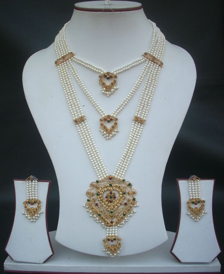 Ethnic Bollywood Long Pearl Rani Haar Collier Boucle d/'oreille indien TIKKA Jewelry Set