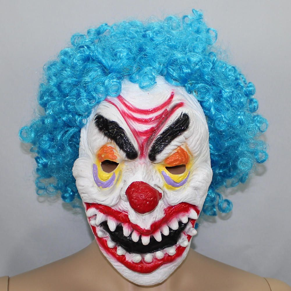 Scary Evil Clown Mask Top Hat Red Nose IT Halloween Horror Costume Accessory