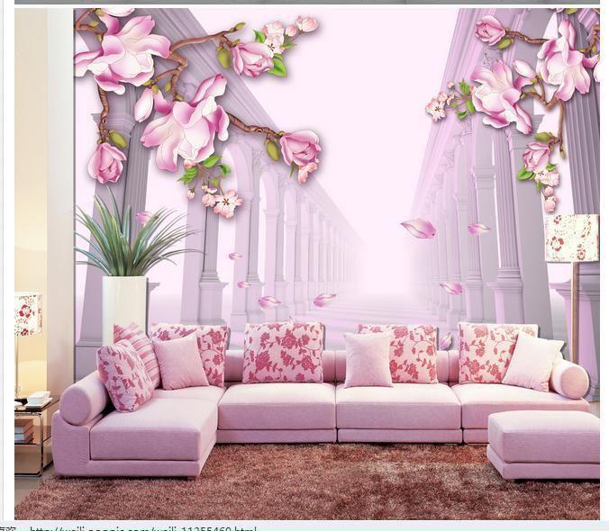 Papel de parede Roman Magnolia 3D backdrop window wallpaper new ...