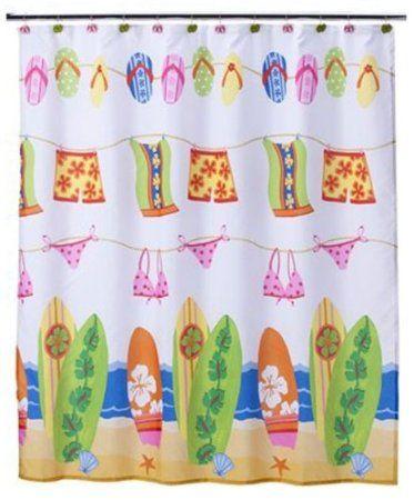 Amazon Com Hanging Loose Collection Beach Surfboard Bikini Flip Flop Shower Curtain Beach Kids Shower Curtain Beachy Shower Curtain Beach Shower Curtains