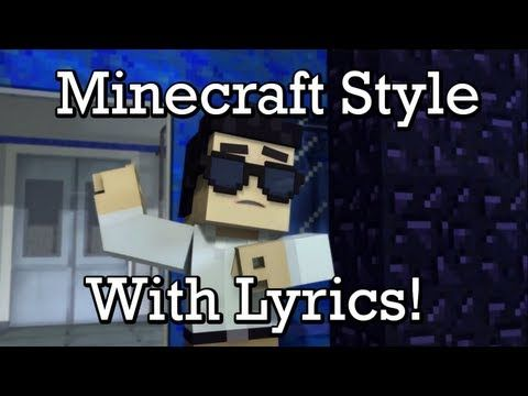 minecraft style on screen lyrics minecraft parody of
