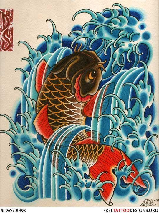 Koi swimming up waterfall tattoo of a koi fish swimming for Koi waterfall