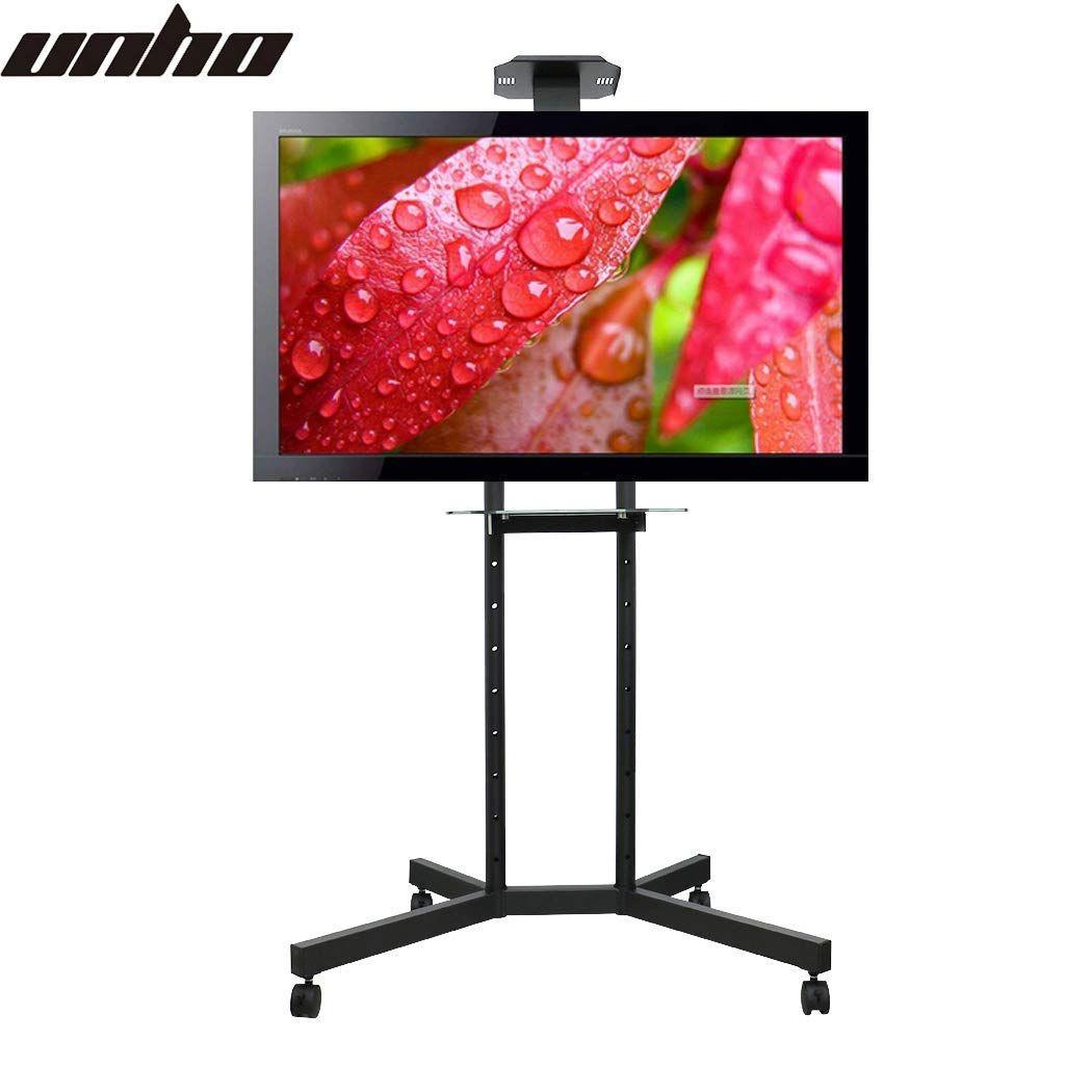 Unho Support Tv Sur Pied à Roulettes Réglable Avec étagère