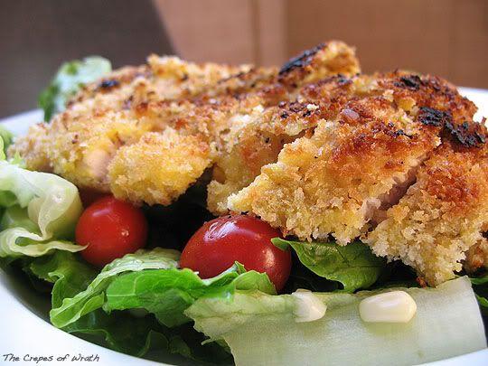 Crispy Panko Chicken with a Simple Summer Salad