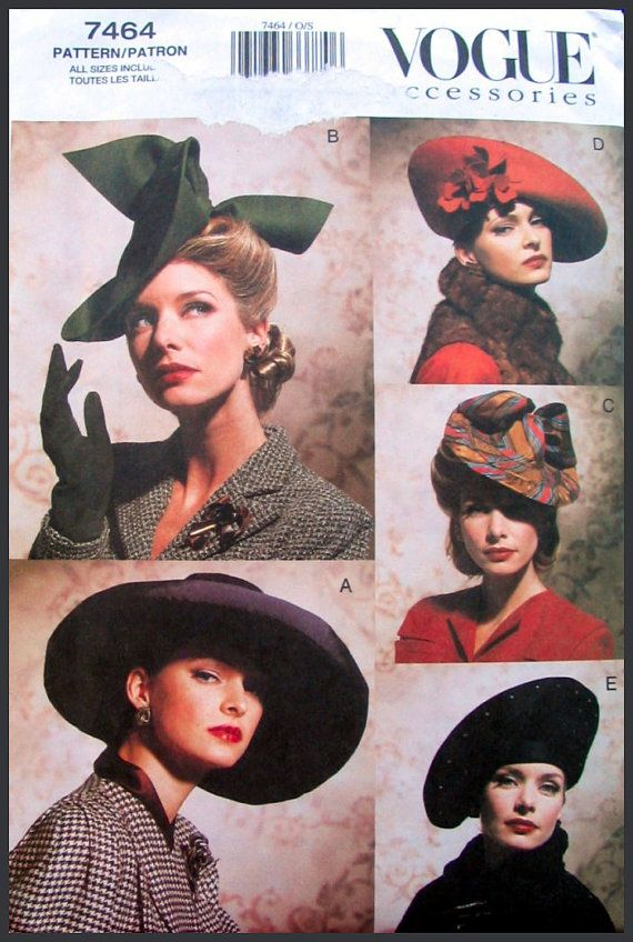 1930s-1940s-VOGUE HAT COLLECTION- Millinery-Sewing Pattern-Five Stunning Styles-Fabric Flowers-Ribbon -Faux Jewel Trimmings-Uncut-Rare