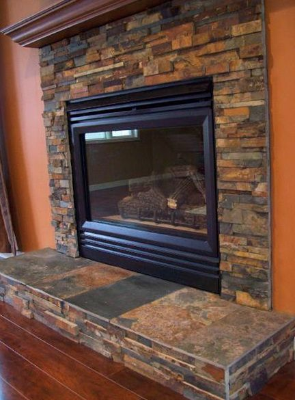 Slate Tile Around Fire Place And Island Google Search Cabin