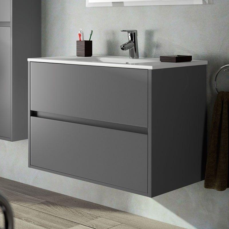 Meuble salle de bain 80 cm, 2 tiroirs, plan vasque porcelaine,gris