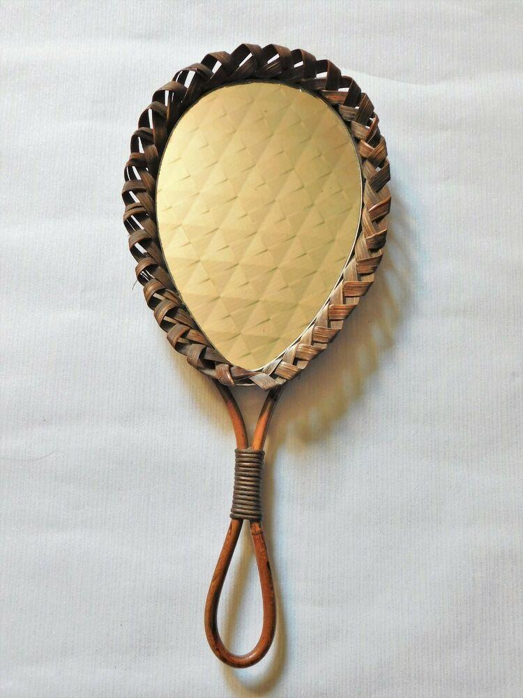 Miroir Vintage Face A Main Mural Bois Et Osier Haut 43 Cm Deco Retro Scandinave Miroir Vintage