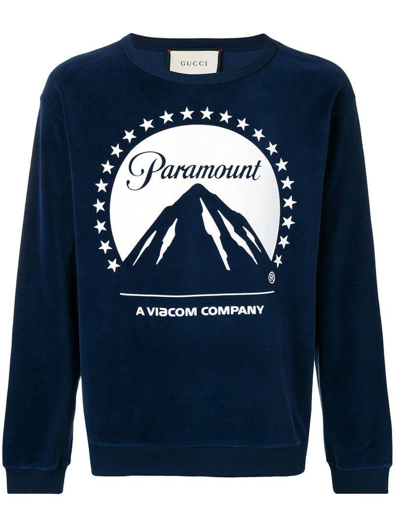 676eb0ab690 GUCCI GUCCI OVERSIZED PARAMOUNT LOGO T-SHIRT - BLUE.  gucci  cloth ...