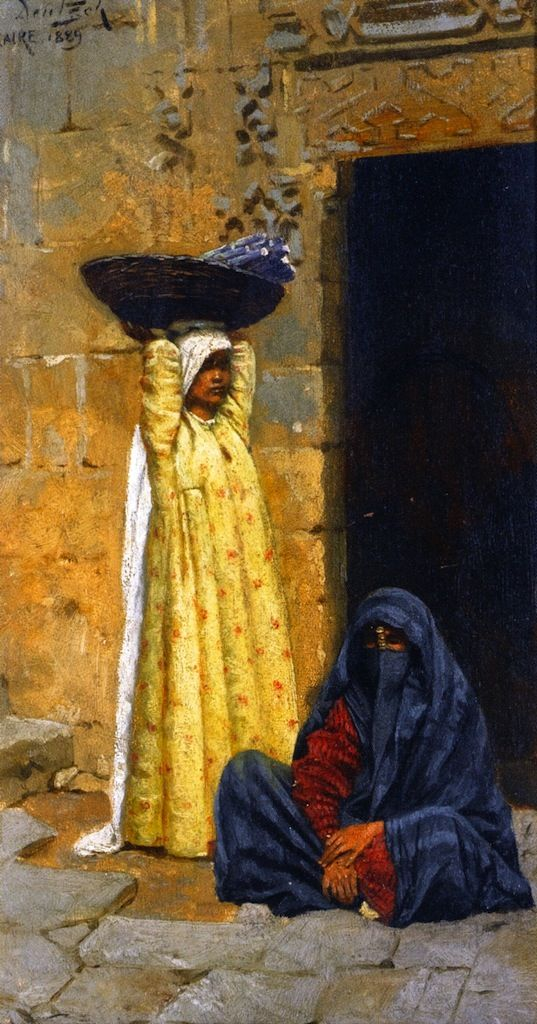 Ludwig Deutsch, Egyptian Figures, c.1889, Tempera on canvas, 23 x 12,5 cm, Private Collection