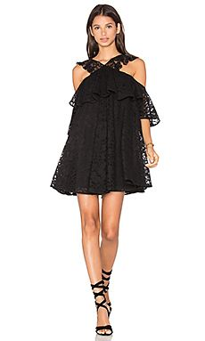 Cold shoulder mini dress - CYNTHIA ROWLEY - black lace layered dress ... d1ab9c1436