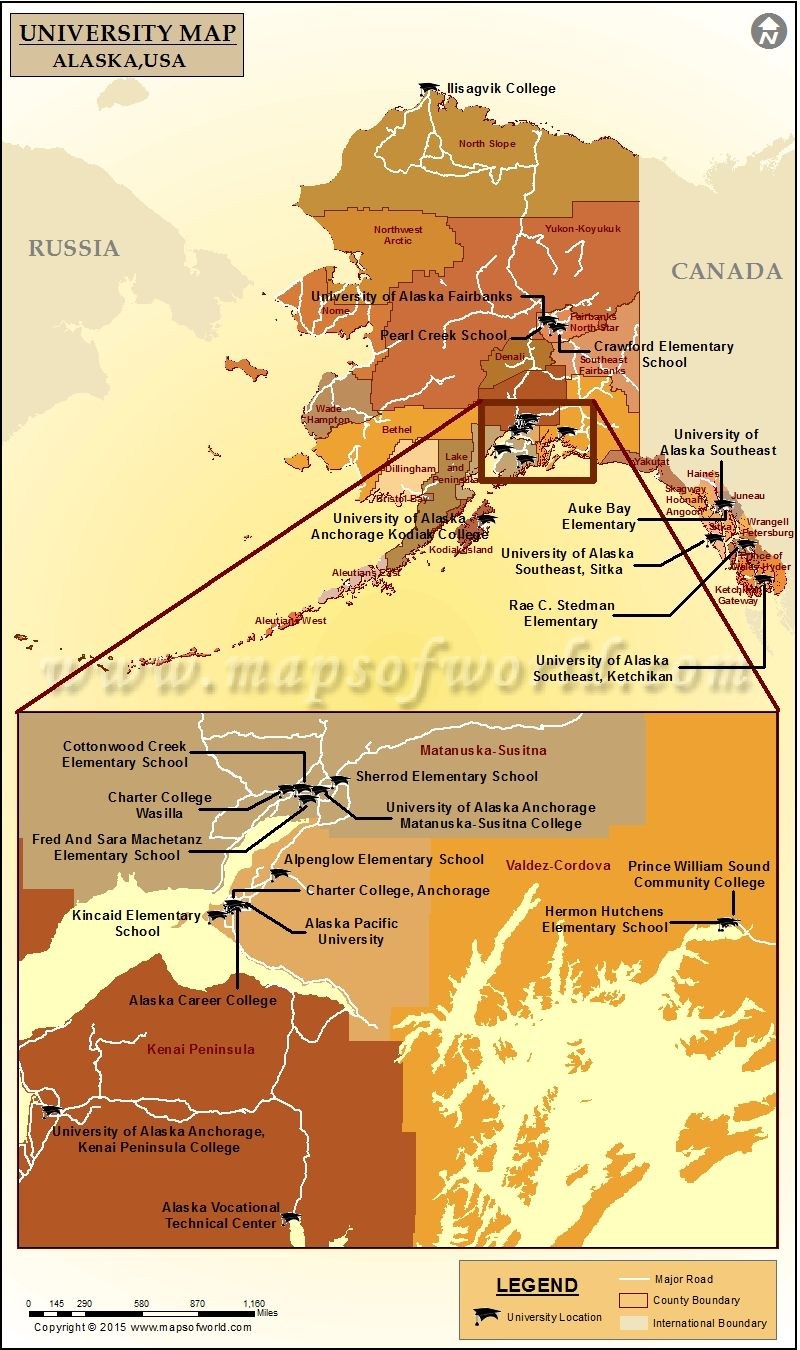 Map of Universities and Colleges in Alaska, USA | Colleges ...