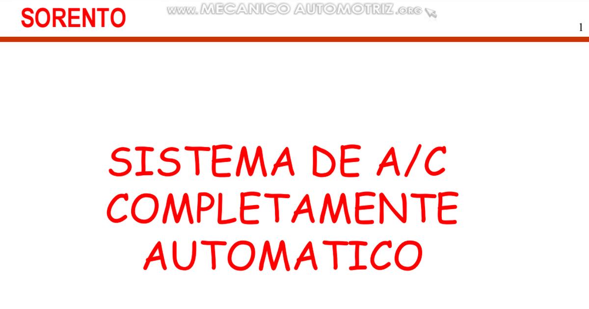Curso Sistema Ac Aire Acondicionado Automatico Kia Sorento Especificaciones Componentes Circuitos Funcionamiento Pdf Refrigator Novelty Sign