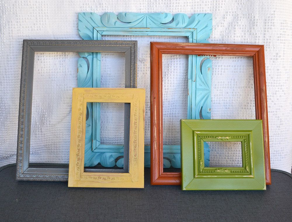 Burnt Orange Wall Paint Dining Room Contemporary With Aqua: Shabby Modern Painted Frame Set Of 5