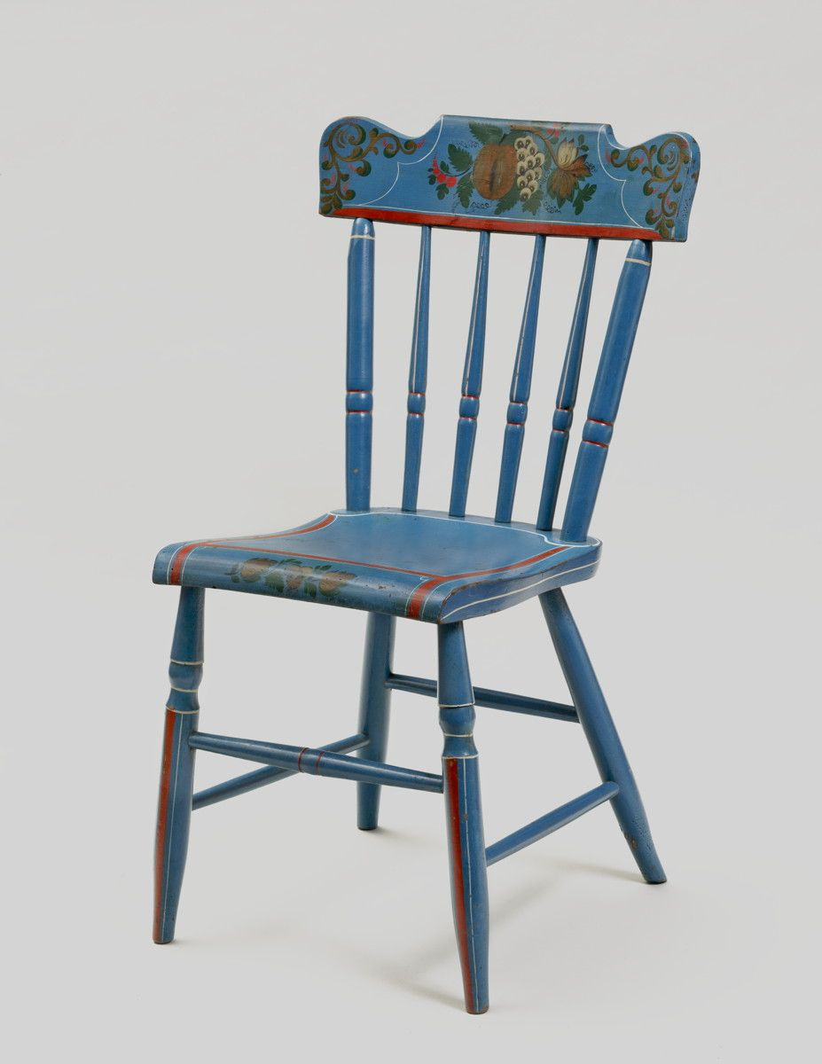 Set Of Six Vibrant Blue Paint Decorated Plank Seat Windsor Side Chairs.
