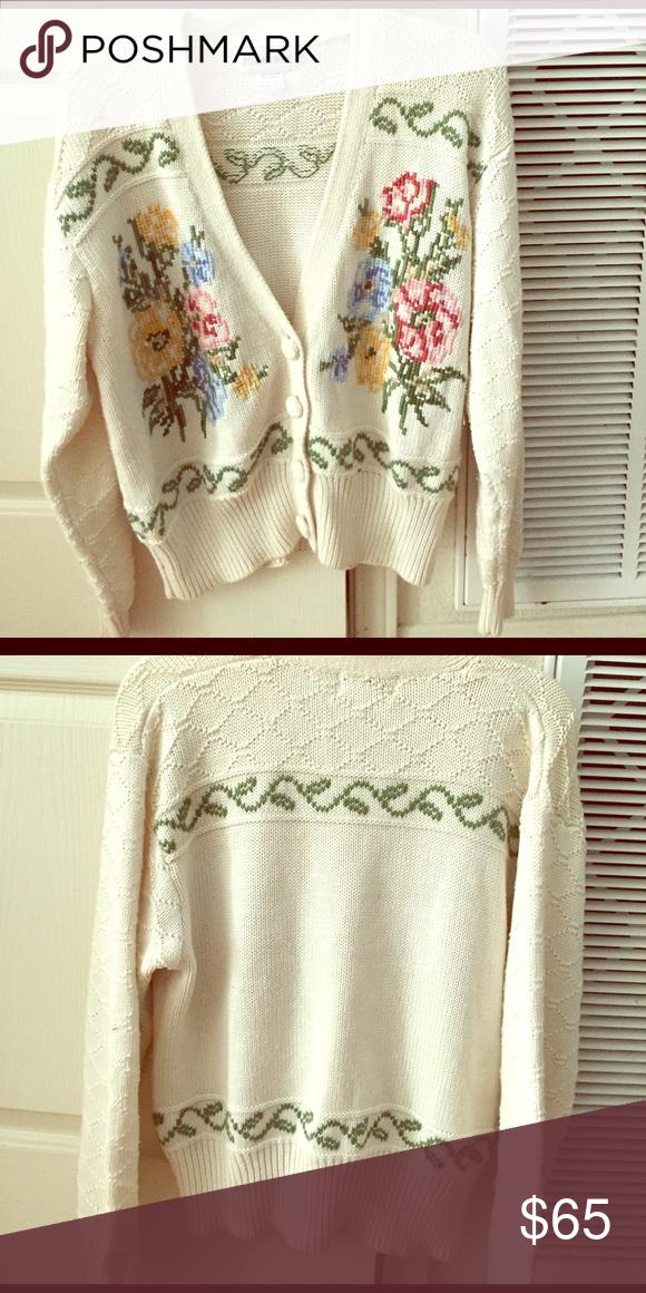 Cardigan Vintage tapestry floral boho cardigan sweater knit sweater Vintage Sweaters Cardigans