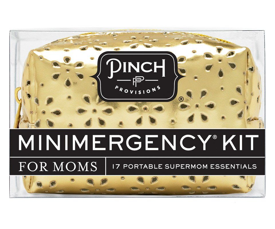 Prevent mommy meltdowns with the Minimergency® Kit for Moms by Pinch Provisions®. Contains 17 mommy must-haves, including a miniature crayon set, fun adhesive b