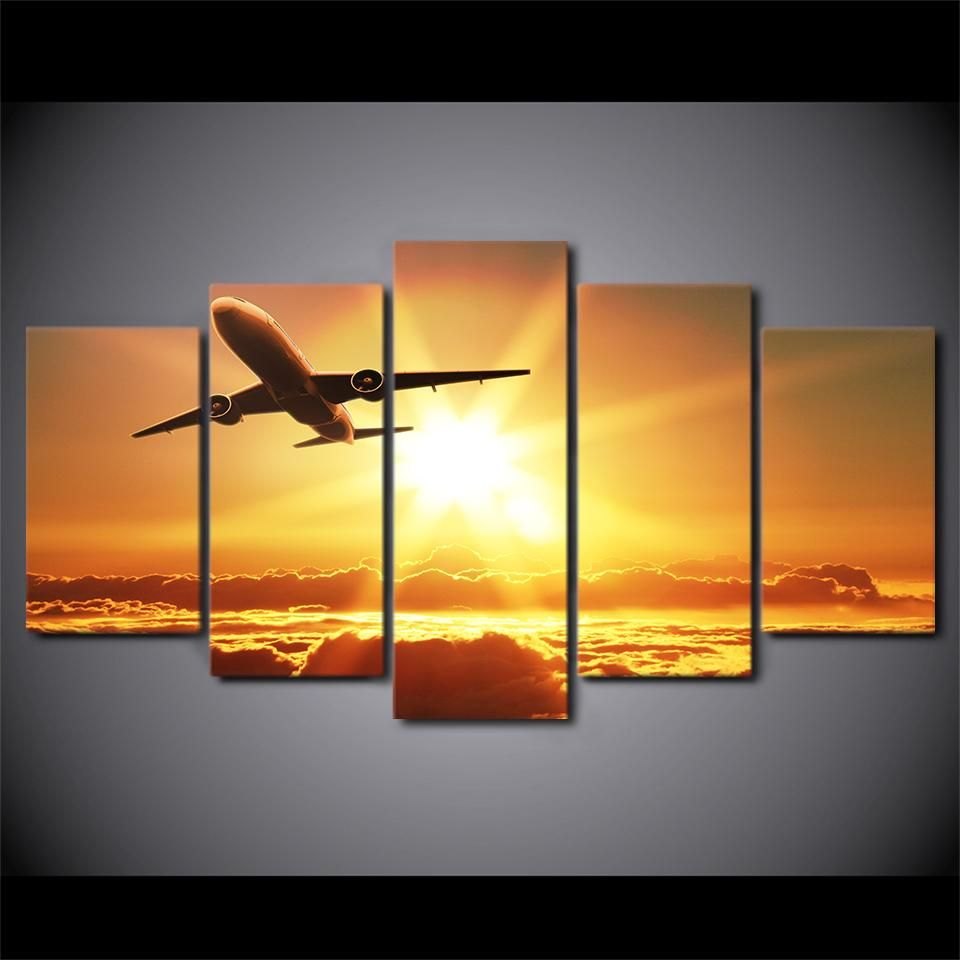 HD Printed 5 Piece Canvas Art Airplane Sunset Painting Wall Pictures ...