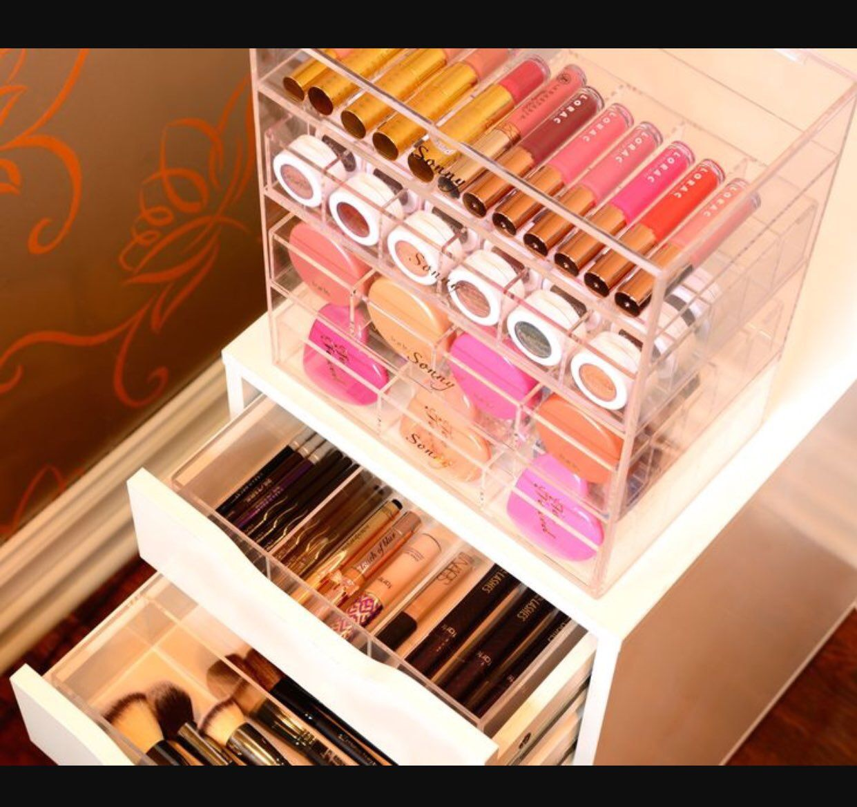 Handmade cosmetic organizers designed to simplify and beautify your makeup collection. Crystal clear acrylic showcases the beauty in beauty products.