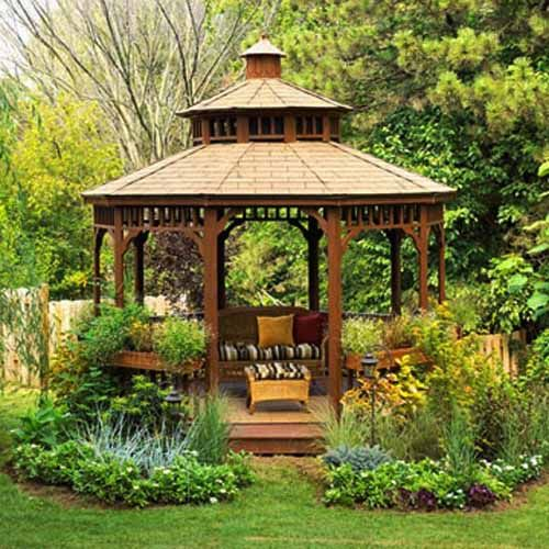 beautiful metal gazebo and wooden
