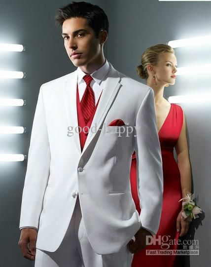 Top Quality White Dress Suits Groom Tuxedos Men Wedding Blazer ...