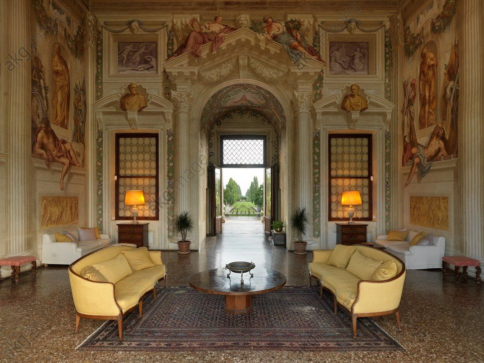 A Century Italian Renaissance Style Salon Complete With Frescoes Adding Details Such As Columns And Archways To Add Sense Of Drama Opulence