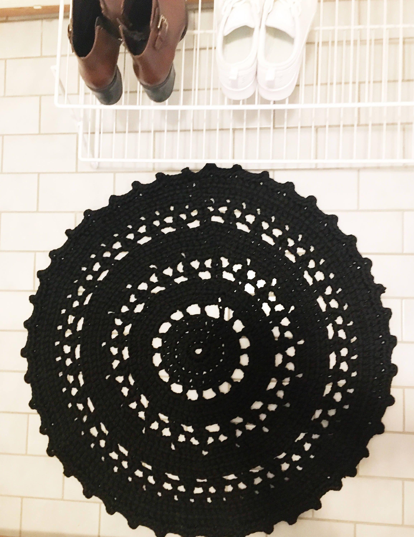 Black Crochet Rug   Circle Rug   100% Soft Cotton   Handmade In ...