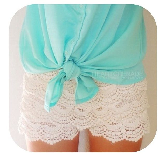 cute teen fashion: cute front knot shirts are in! [blue, summer, white lace]