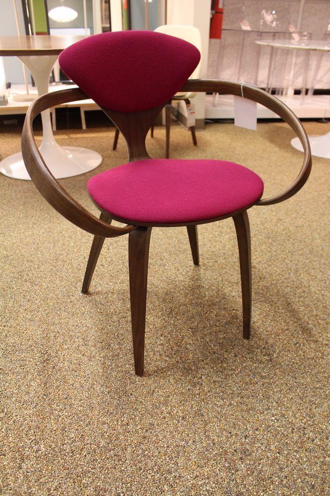 cherner armchair upholstered walnut hallingdal fabric midcentury