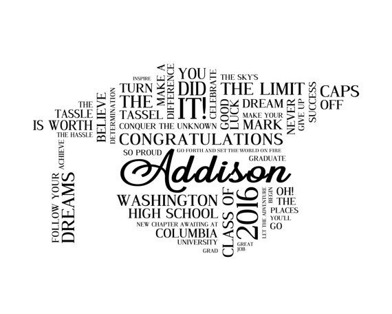 Personalized High School Graduation Word Art. Graduation