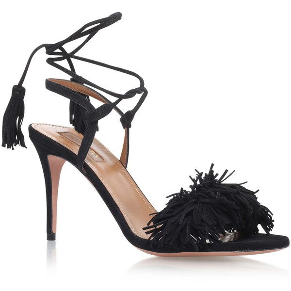 36e8cb975 Aquazzura Black Suede Wild Thing 85 Heeled Sandals ( 705) ❤ liked on  Polyvore featuring shoes