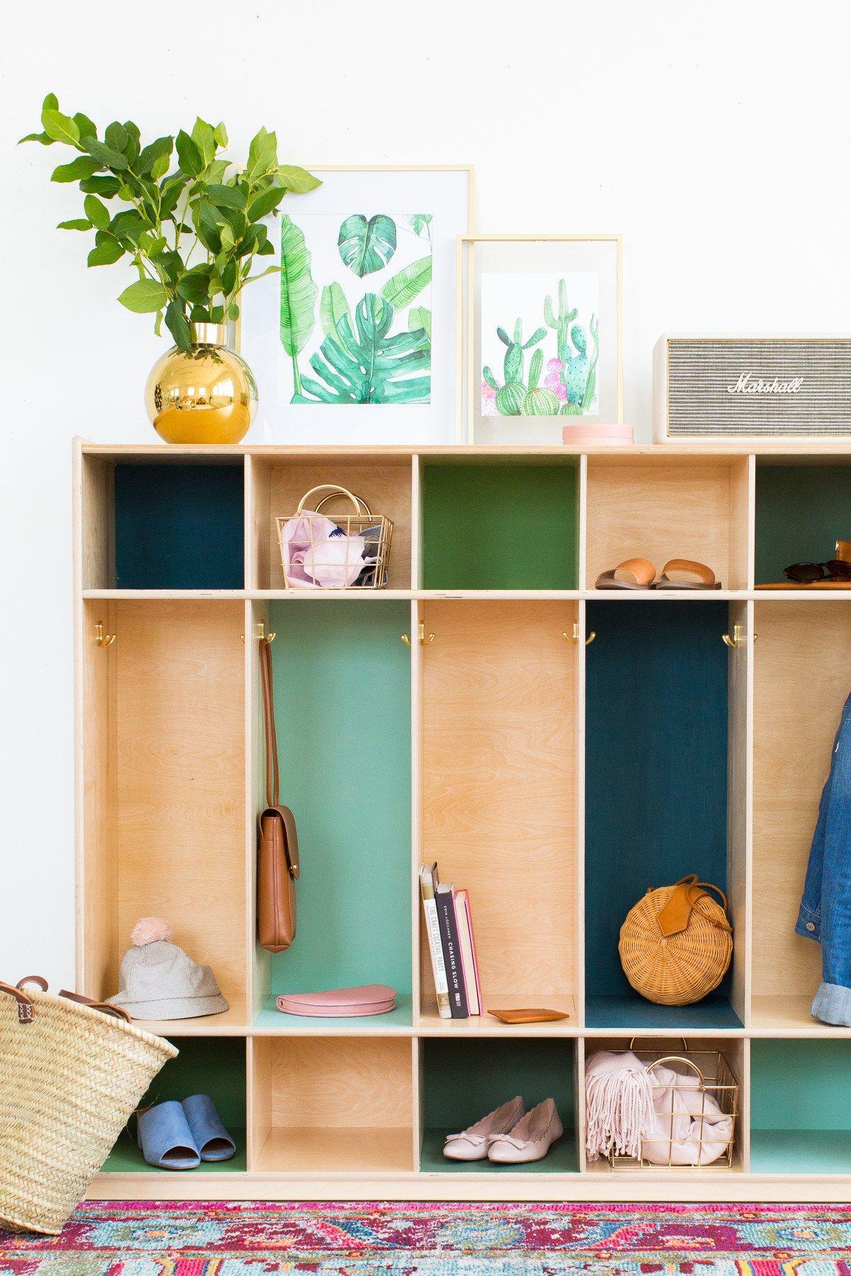 DIY Color Block Storage Lockers | Espacios, Entrada y Muebles de colores