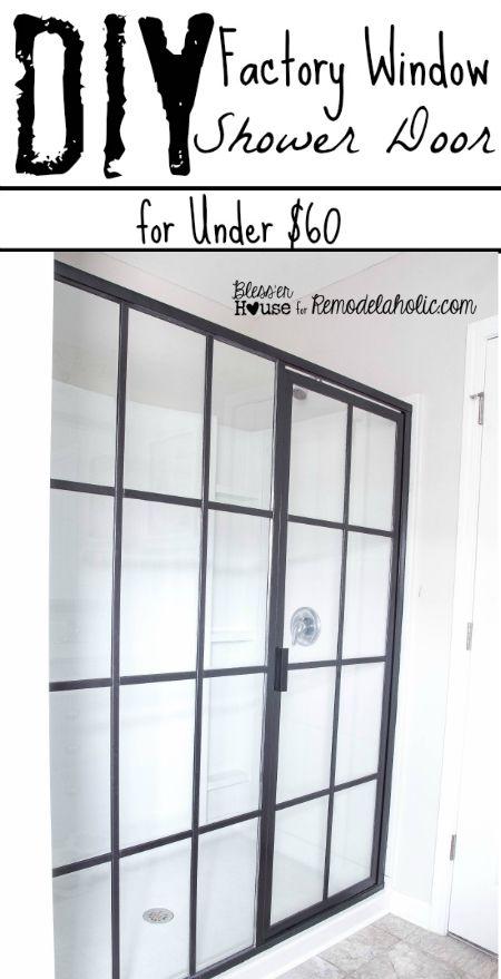 An Inexpensive Diy Update To Make A Basic Shower Door Look Like An Industrial Factory Window Fo Factory Window Shower Door Industrial Shower Doors Shower Doors