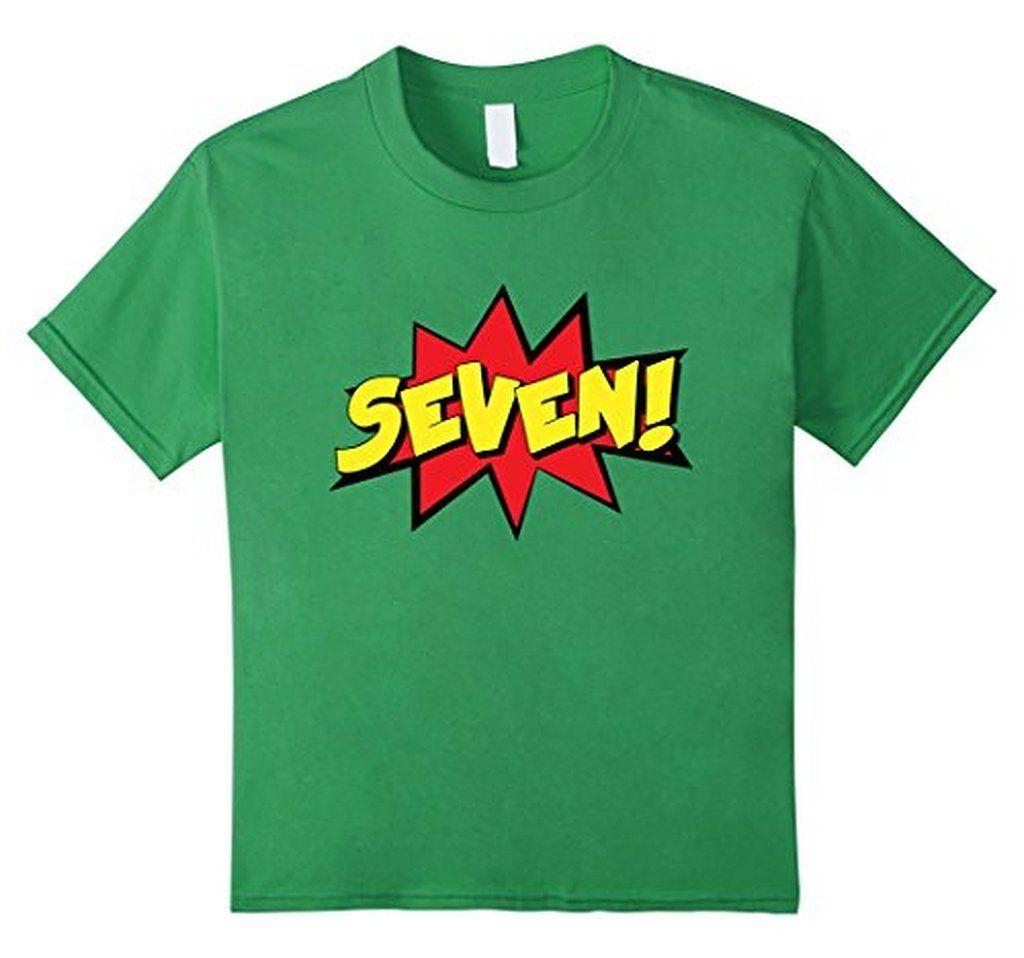Kids seven 7th birthday boy girl gift tshirt superhero 7
