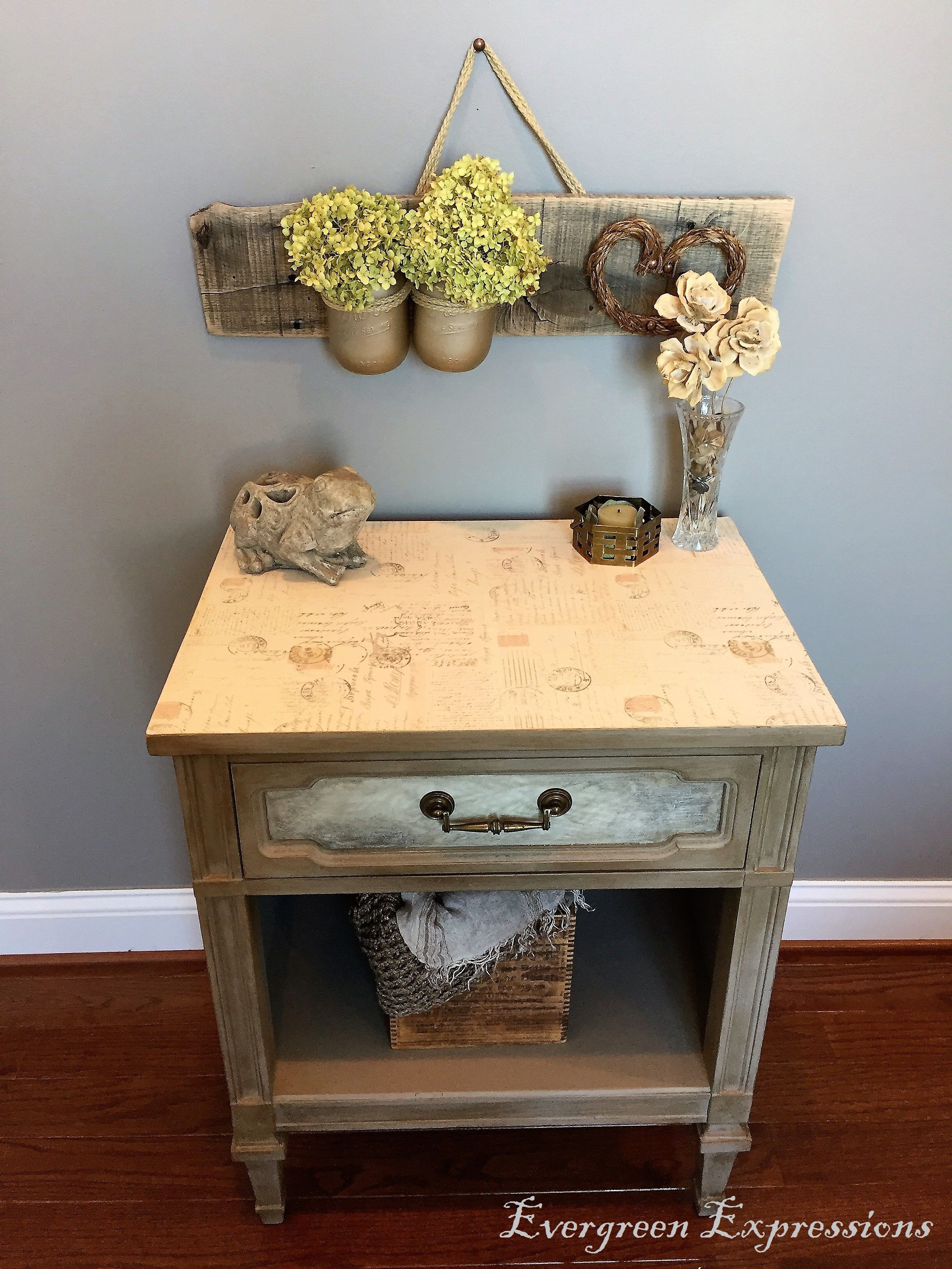 Romantic Postcard Decoupage End Table Furniture Makeover End Tables Table