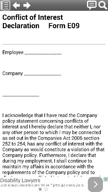 Conflict Of Interest Declaration Legal Form Template From