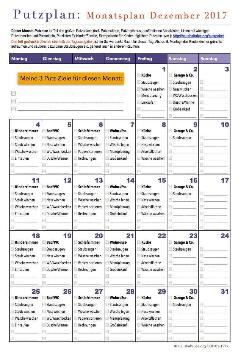 Monats Putzplan Haushaltsfee Haushalt Putzplan