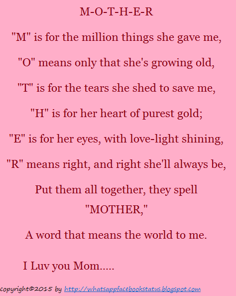 Touching Mother\'s Day Status Msg for Facebook WhatsApp | Whatsapp ...