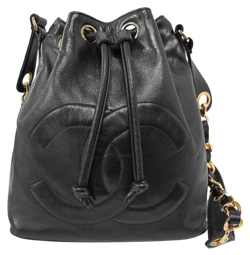 Chanel Lambskin Drawstring Bucket Cc Logo Bucket Bag Pouch Bags Chanel Bag Bucket Bag