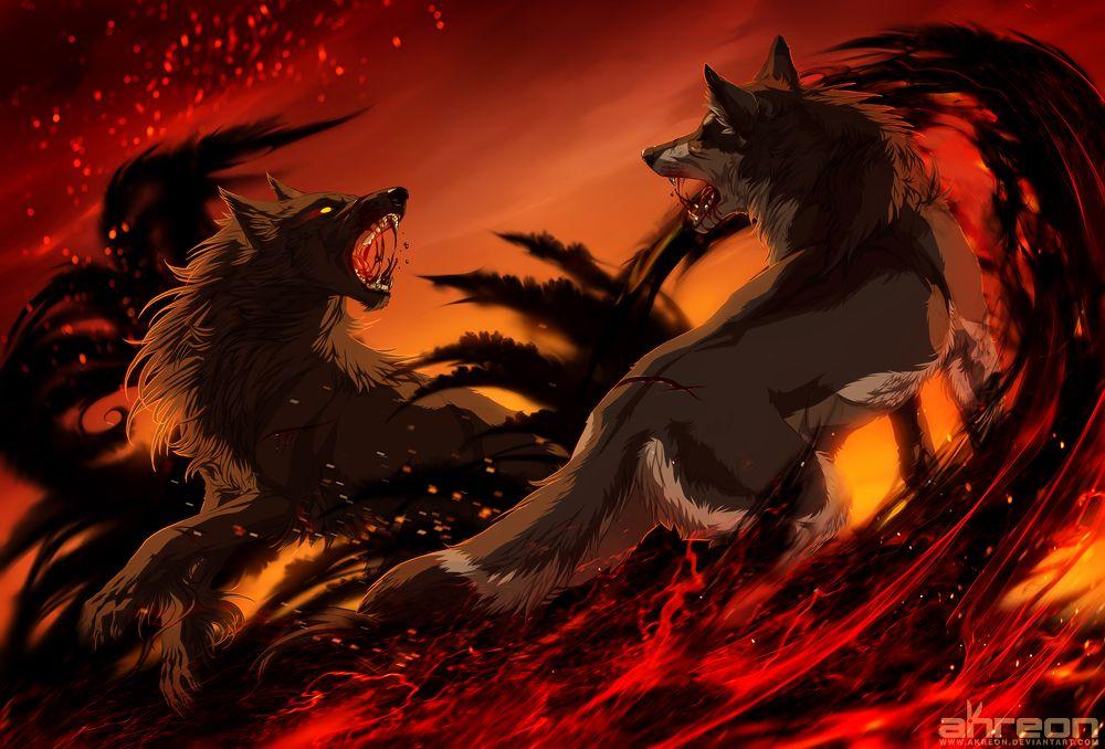 Fire And Smoke Fantasy Wolf Wolf Artwork Anime Wolf