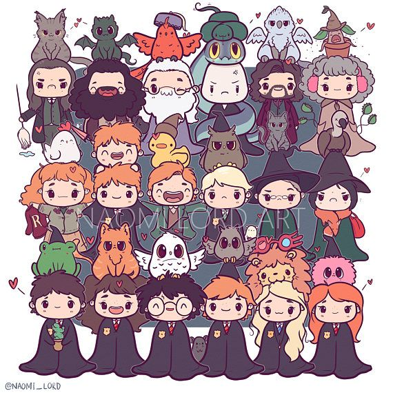 Hp Chibis Print 8x8 Or 6x6 In 2018 Harry Potter Pinterest