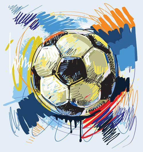 Hand Drawn With Graffiti Sport Background Art Vector 02 Soccer Art Soccer Throw Pillows Football Illustration