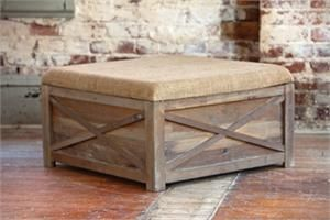 Town Country Ottoman With Burlap Top Reclaimed Wood Farmhouse