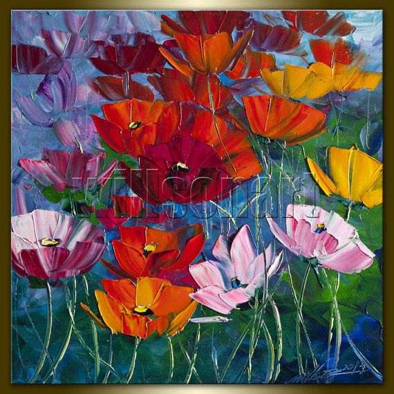Modern Flower Canvas Oil Painting Poppy Red Poppies ...