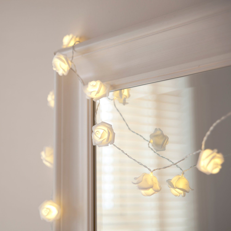 Weiae Wande Lichterkette Schlafzimmer Lichterkette: 20er LED Rosen Lichterkette Warmweiß Batteriebetrieben