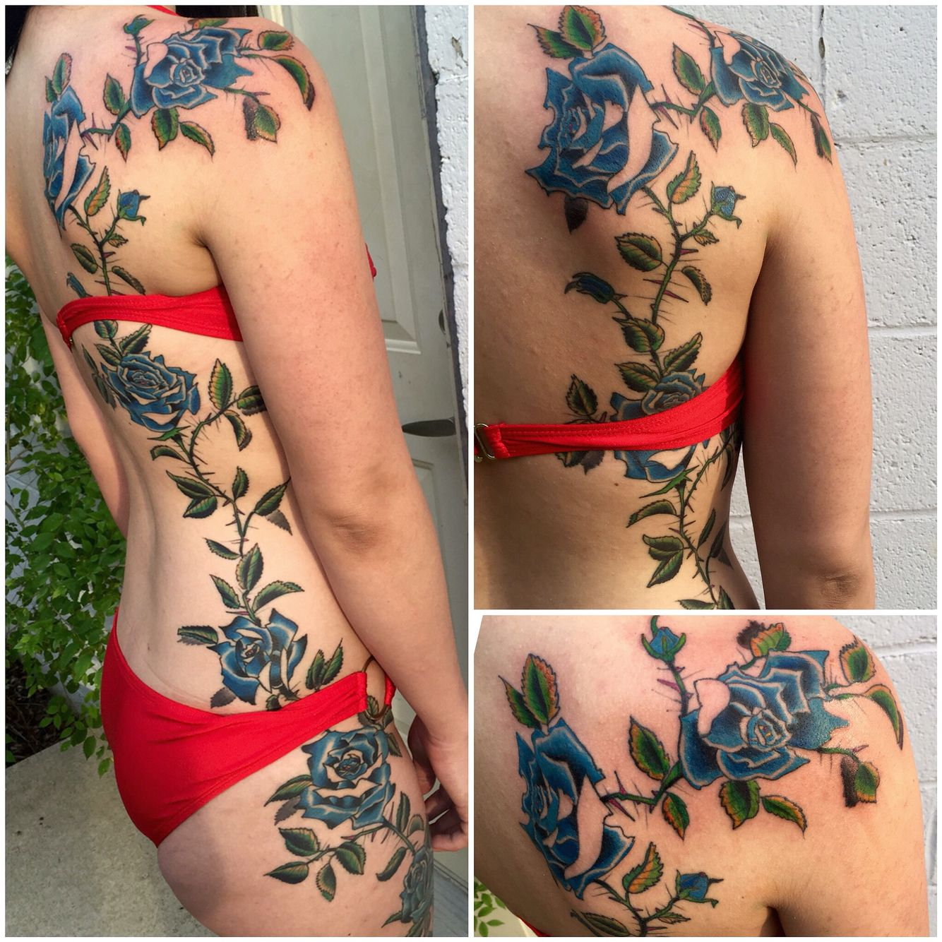 69 meaningful family tattoos designs mens craze - Roses From Shoulder To Thigh Tattoo Done By David Mendieta At Good Family Tattoo