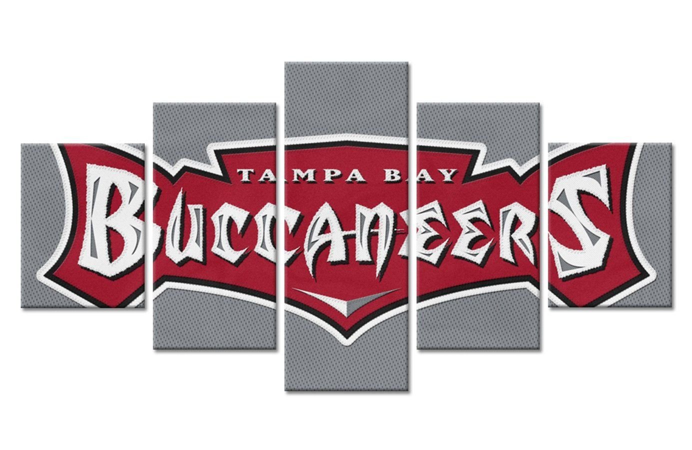 Tampa Bay Bucs Buccaneers Wall Art On Canvas Football Canvas 5 Panel Wall Art Canvas Art